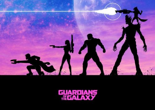 GUARDIANS OF THE GALAXY - SILHOUETTE ART canvas print - self adhesive poster - photo print